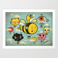 Happy Flight / The Animals Hot Air Balloon Voyagers / Patterns / Clouds Art Print