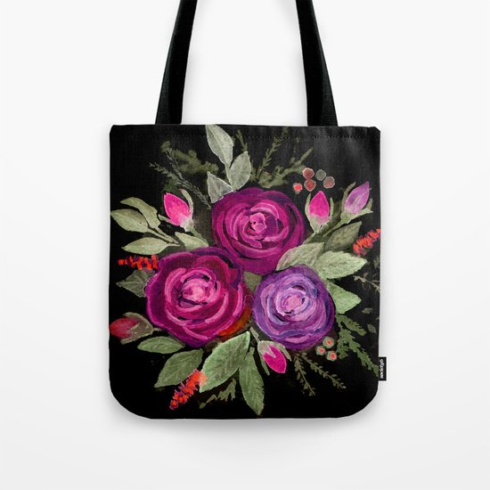 Purple roses on a black background. Watercolor . Tote Bag