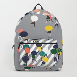 Crossing The Street on a Rainy Day - Grey Backpack