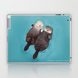 Otterly Romantic - Otters Holding Hands Laptop & iPad Skin