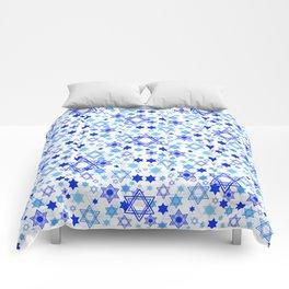 Dynamic Blue Stars of David Pattern Comforters