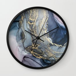 Blush, Payne's Gray and Gold Metallic Abstract Wall Clock