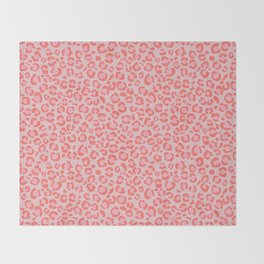 Coral Leopard Print - Living Coral design | Girly Pastel Cheetah Throw Blanket