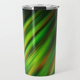 Colorful neon green brush strokes on dark gray Travel Mug