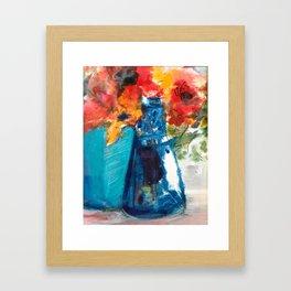 Bright Cobalt and Orange Floral  Framed Art Print