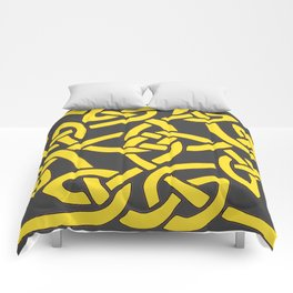 Decorative Charcoal Grey Color Yellow Celtic Art Comforters