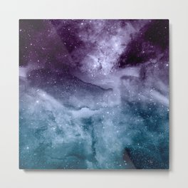 Watercolor and nebula abstract design Metal Print
