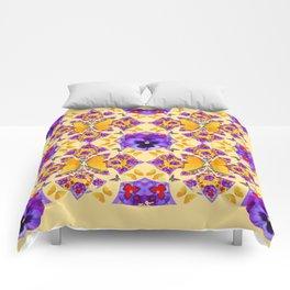 PURPLE PANSIES & GOLD  BUTTERFLIES KALEIDOSCOPE CREAM Comforters