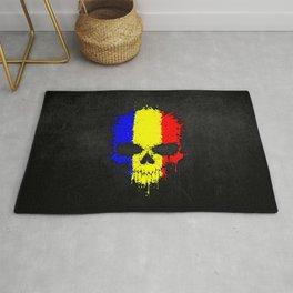 Flag of Romania on a Chaotic Splatter Skull Rug