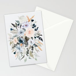 Loose Blue and Peach Floral Watercolor Bouquet  Stationery Cards