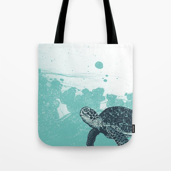 Sea Foam Sea Turtle Tote Bag