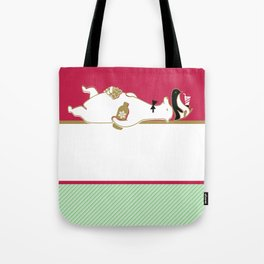 Holiday Polar Bear and Penguin Tote Bag