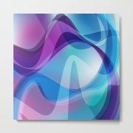 Blue And Purple Wavy Swirl Hippie Abstract Design Metal Print