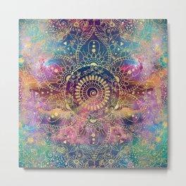 Gold watercolor and nebula mandala Metal Print