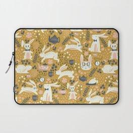Bunnies + Teapots in Gold Laptop Sleeve