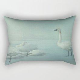 Swans on Frozen Lake Rectangular Pillow