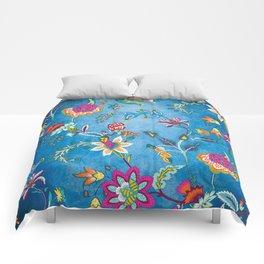 Blue Lapis Velvet Texture Chintz Multicolour Bohemian Floral Pattern Comforters