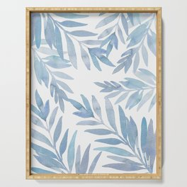 Muted Blue Palm Leaves Serving Tray
