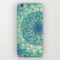 blue iPhone & iPod Skins featuring Emerald Doodle by micklyn