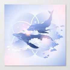 Pastel Whales Canvas Print