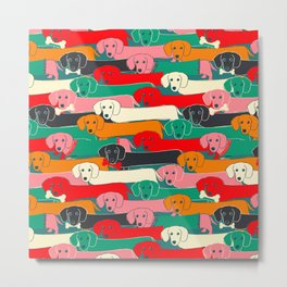 dachshund pattern- happy dogs Metal Print