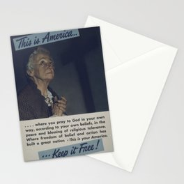 Vintage American World War 2 Poster - This is America: Pray to God in Your Own Way (1943) Stationery Cards