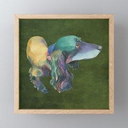 Longhaired Dachshund Framed Mini Art Print