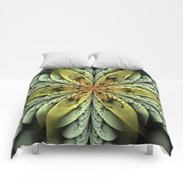 Golden flower with mint swirls Comforters