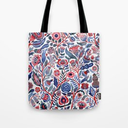 Botanical in red and blue Tote Bag