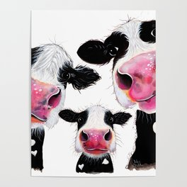 CoW PRiNT ANiMaL PRiNT ' THe NoSeY FaMiLY ' BY SHiRLeY MacARTHuR Poster
