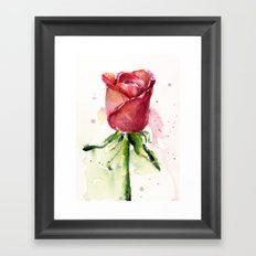 Rose Watercolor Red Flower Painting Floral Flowers Framed Art Print