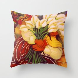 Sleeping Young Woman (Frida Kahlo) with Lilies portrait painting by Diego Rivera Throw Pillow