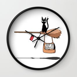 Flying Black Cat Wall Clock