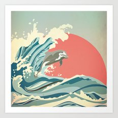 dolphin happiness Art Print