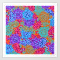 vibrant paisley Art Print