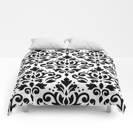 Scroll Damask Big Pattern Black on White Comforters