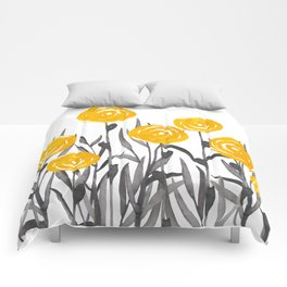 Fall Sunshine, Floral Print, Yellow and Gray Comforters