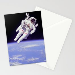 Astronaut Floating in Space Stationery Cards