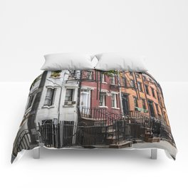 Picturesque street view in Greenwich Village, New York Comforters
