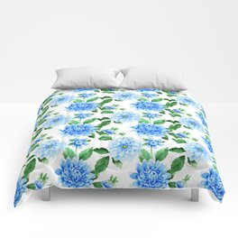 Hand painted sky blue green watercolor modern dahlia floral Comforters