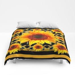 Italian Style Art Deco Golden Sunflower Art Comforters