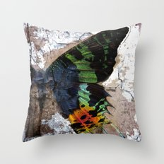 Sunset Moth Wing Abstract Throw Pillow