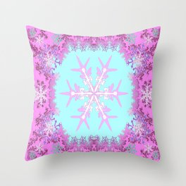 Decorative Pink Winter Snowflakes Abstract Art Throw Pillow