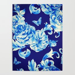 Blue Flowers & Butterflies Pattern Poster