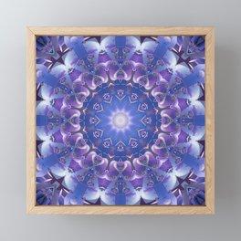 Deep Blue and Purple Fractal Mandala Framed Mini Art Print