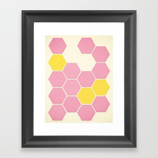 Pink Honeycomb Framed Art Print