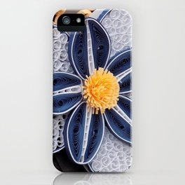 Blue Paper Quilled Flowers Floral Home Decoration Abstract Still Nature Art iPhone Case