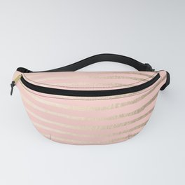 Abstract Stripes Gold Coral Light Pink Fanny Pack