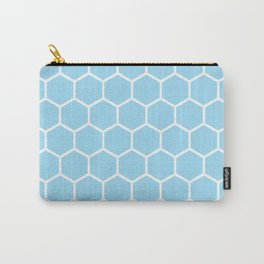 White and light blue honeycomb pattern Carry-All Pouch