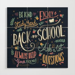 Back to school colorful typography drawing on blackboard with motivational messages, hand lettering Wood Wall Art